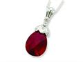 Sterling Silver Dark Red Cubic Zirconia Tear Drop Necklace