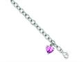 Sterling Silver Rolo With Pink Cubic Zirconia Heart Bracelet