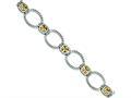 Sterling Silver Antiqued Champagne Cubic Zirconia Bracelet