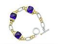 Sterling Silver Vermeil Purple Cubic Zirconia Bracelet