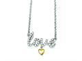 Sterling Silver and Vermeil Cubic Zirconia Love Necklace