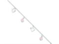 "Sterling Silver 9"" Polished Heart And Rose Stone W/ 1in Ext. Anklet"""