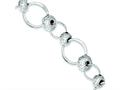 Sterling Silver Rhodium Polished and Texture Circles W/beads Bracelet
