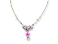 Sterling Silver Pink Cubic Zirconia/blue Topaz/pink Agate/amethyst Necklace