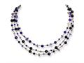 Sterling Silver 3 Strand Amethyst/lilac Crystal Necklace