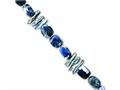 Sterling Silver Sodalite and Grey Freshwater Cultured Pearl Necklace
