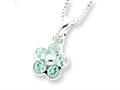 Sterling Silver Blue Topaz Flower Pendant W/ 16 Chain - Chain Included
