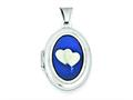 Sterling Silver Double Heart Agate Cameo 21mm Oval Locket
