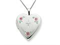 925 Sterling Silver 20mm Enameled with Cross Design Heart Locket - Chain Included