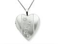 925 Sterling Silver 20mm with Flowers Heart Locket - Chain Included