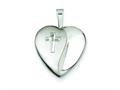 Sterling Silver and Diamond 16mm D/c Cross Heart Locket