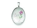 Sterling Silver Love W/ Enamel Rose 19mm Oval Locket