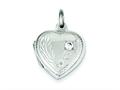 Sterling Silver Heart Locket W/cz