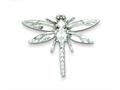 Sterling Silver Cubic Zirconia Dragonfly Pendant - Chain Included