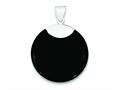 Sterling Silver Round Black Onyx Pendant - Chain Included
