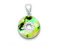 Sterling Silver Round Abalone Pendant - Chain Included