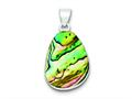 Sterling Silver Pear Shaped Abalone Pendant - Chain Included