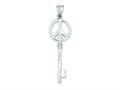 Sterling Silver Peace Sign Key Pendant - Chain Included