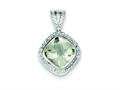 Sterling Silver Green Quartz Pendant - Chain Included