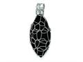 Sterling Silver Link Covered Large Onyx Oval Pendant - Chain Included