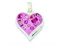 Sterling Silver Pink Stellux Crystal and Enameled Heart Pendant - Chain Included