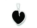 Sterling Silver Onyx Heart Pendant - Chain Included