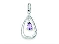 Sterling Silver Diamond Accent And Amethyst Teardrop Pendant - Chain Included