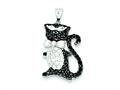 Sterling Silver Black and White Cubic Zirconia Cool Cat Pendant - Chain Included