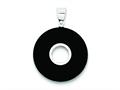 Sterling Silver Round Black Onyx Polished Pendant - Chain Included