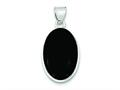 Sterling Silver Onyx Polished Oval Pendant - Chain Included