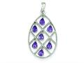 Sterling Silver Amethyst Teardrop Pendant - Chain Included