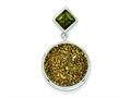 Sterling Silver With Yellow Druzy and Green Cubic Zirconia Round Pendant - Chain Included