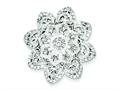 Sterling Silver Cubic Zirconia Flower Slide Pendant - Chain Included