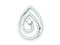 Sterling Silver Micro Pave And Center Cubic Zirconia Swirl Teardrop Pendant - Chain Included