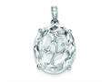 Sterling Silver Cubic Zirconia Oval Pendant - Chain Included