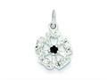 Sterling Silver Cubic Zirconia And Black Zircon Flower Pendant - Chain Included