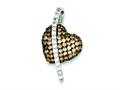 "Sterling Silver Cubic Zirconia Black Rhodium, Clear, Champagne Heart Pendant"" - Chain Included"