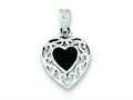 Sterling Silver Onyx Heart Antiqued Pendant - Chain Included
