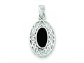 Sterling Silver Onyx Oval Antiqued Pendant - Chain Included