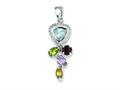 Sterling Silver Blue Topaz Citrine Garnet Amethyst And Peridot Pendant - Chain Included