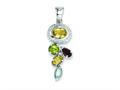 Sterling Silver Citrine Garnet Blue Topaz And Peridot Pendant - Chain Included