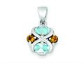 Sterling Silver Blue Topaz And Citrine Pendant - Chain Included