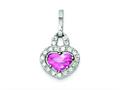 Sterling Silver Pink And Clear Cubic Zirconia Heart Pendant - Chain Included