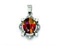 Sterling Silver Rainbow And Clear Cubic Zirconia Pendant Slide - Chain Included