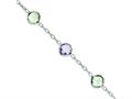 Sterling Silver Amethyst and Green Quartz Bracelet