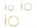 14k Madi K Polished 3-pair Set - Endless Hoop Children Earrings