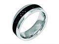 Chisel Stainless Steel And Black Carbon Fiber 8mm Polished Weeding Band