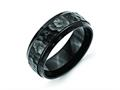 Chisel Stainless Steel 8mm Black Ip-plated Hammered/polished Beveled Edge Weeding Band