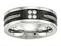 Chisel Stainless Steel Polished Laser Cut Blk Ip Wire Inlay CZ Weeding Band