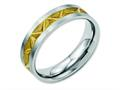 Chisel Stainless Steel Grooved Yellow Ip-plated Ladies 6mm Brushed Weeding Band